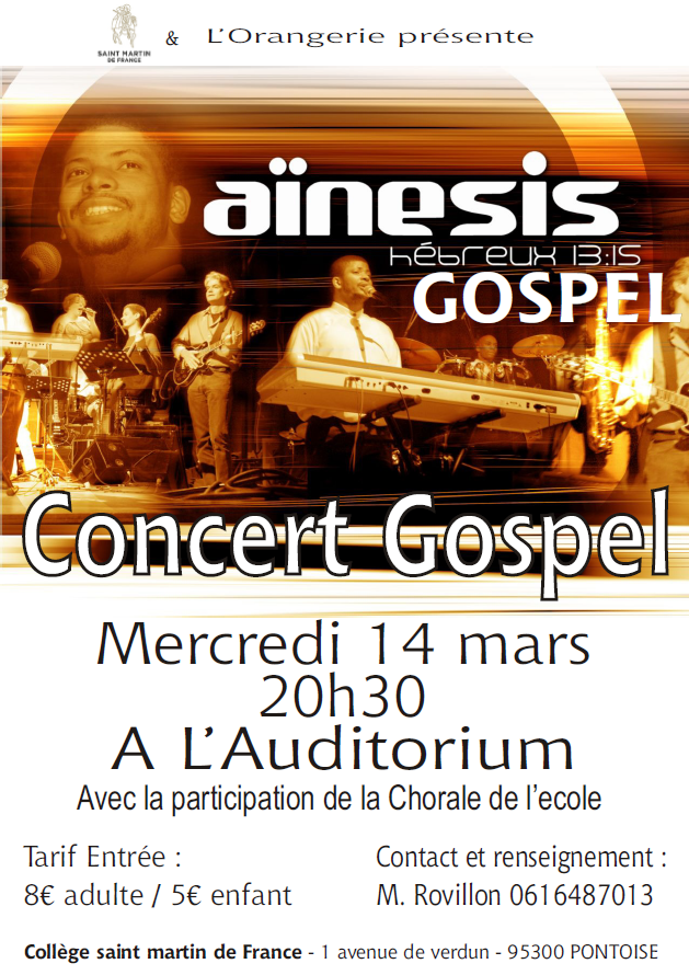 Affiche concert gospel SMdF - mercredi 14 mars 2018